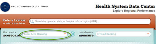 Screenshot of Health Systems Data Center Web Page