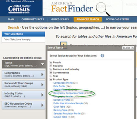 Screenshot of American FactFinder Web Page