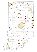 Indiana Rural Healthcare Facilities map