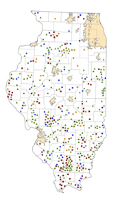 Illinois Rural Healthcare Facilities map
