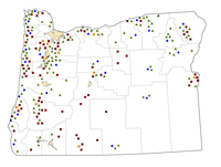 Oregon Rural Healthcare Facilities map