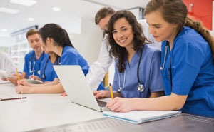 healthcare professionals in classroom