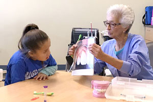 Children learning about oral health