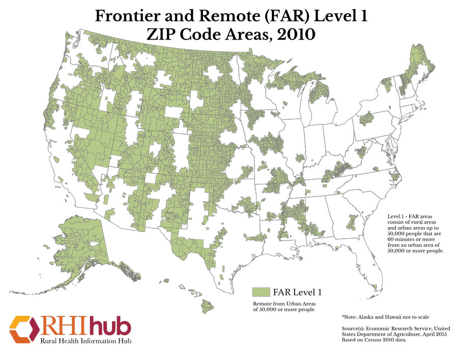 frontier and remote far level 1 zip code areas 2010