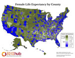 Female Life Expectancy by County