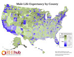 Male Life Expectancy by County