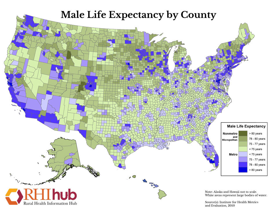 RHIhub Maps On Rural Health Status - Life expectancy by us county 2014 map