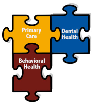 Puzzle graphic showing primary care, dental health and behavioral health