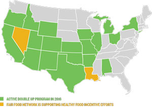 map of states where Double Up Food Bucks is active