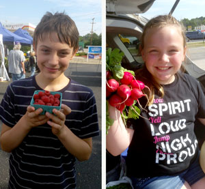 Two young customers of the Allegan Farmers Market
