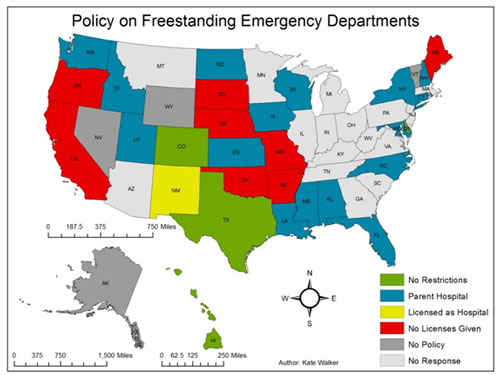 Map identifying state policies on freestanding emergency departments