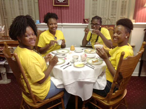 Tea Time with Teens participants enjoying tea