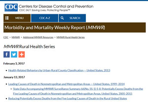 CDC MMWR Rural Health Series webpage