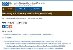 CDC MMWR Rural Health Series webpage
