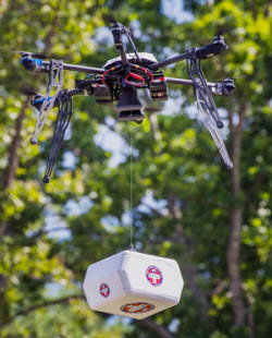 A drone delivers prescription medications in Wise County, VA.