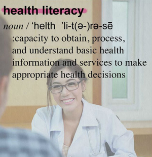 displays definition of health literacy
