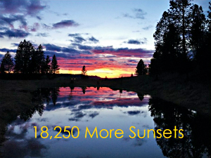 image of a sunset with the text 18,250 More Sunsets