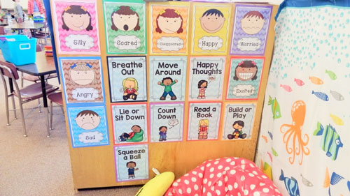 """Calm Spots"" are set up in Buncombe County classrooms as part of the Compassionate Schools program."