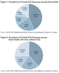 Pie charts showing prevalence of ACE exposure among rural adults