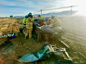 Humboldt's EMS wreck extrication team rescues a driver from a motor vehicle collision.