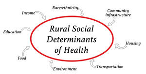 graphic identifying various rural social determinants of health