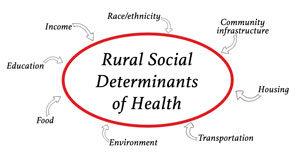 graphic identifying various rural social determinants of health