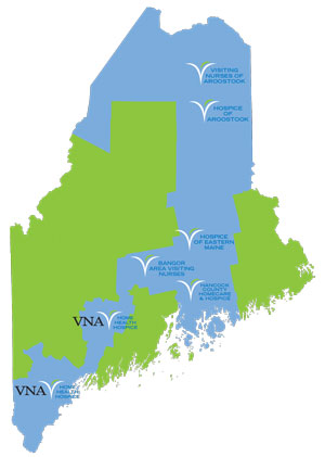 map of Maine showing VNA home health services