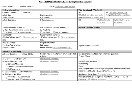 first page of VUMC nursing transition summary form