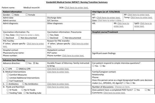 first page of VUMC nursing transition summary form