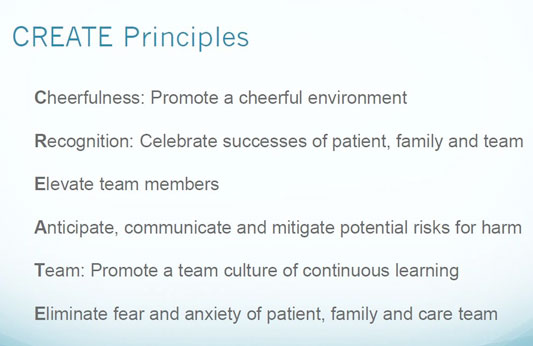 Chart listing the CREATE principles