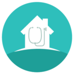 icon showing house with stethoscope