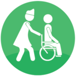 icon showing nurse pushing patient in wheelchair