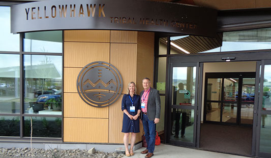 Cambia Health Foundation staff members visit the Yellowhawk Tribal Health Center.