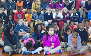 Students listen to a Together We Can Be Bully Free presentation in Farmerville, Louisiana.