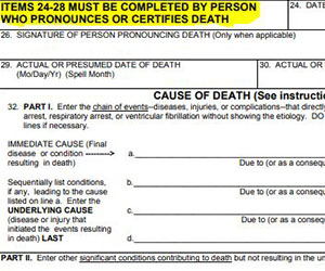 death certificate form