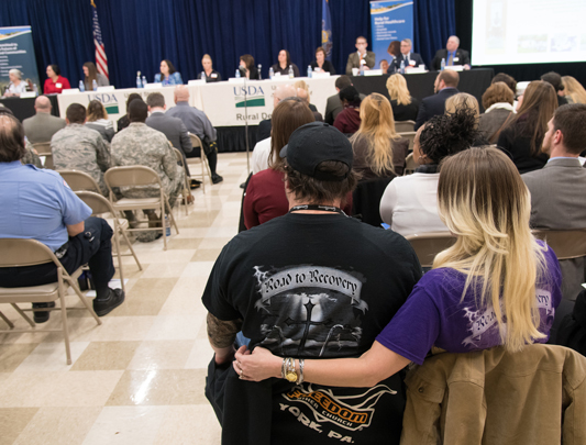Crowd in attendance at one of USDA's 2018 opioid roundtable events.