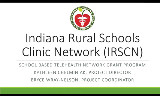 webinar screenshot for a presentation on the Indiana Rural Schools Clinic Network