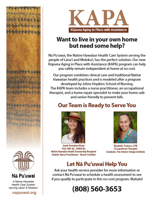 Direct mailer for the Kūpuna Aging in Place with Assistance program in Hawaii.