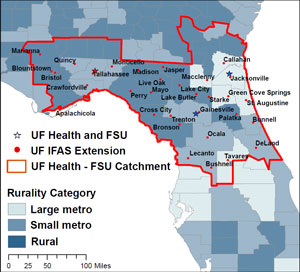 University of Florida/Florida State University CTSA hub catchment area.