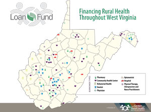 map of WV Rural Health Infrastructure Loan Fund borrowing