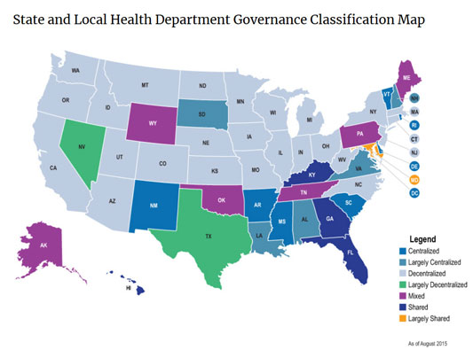 map showing health department governance by state