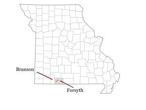 map of Missouri highlighting Taney County