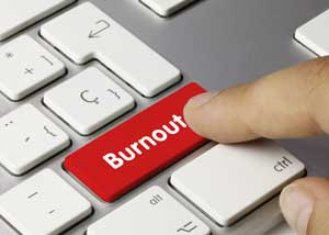 "keyboard enter key labeled with the word ""Burnout"""