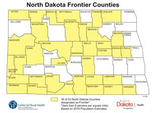 map of North Dakota frontier counties