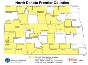 map of North Dakota frontier counties