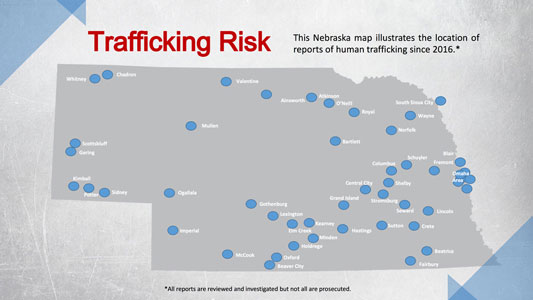 Map of trafficking risk in Nebraska