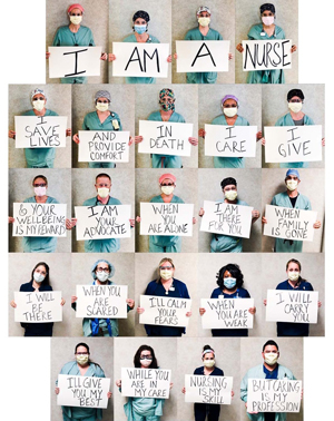 photo of nurses holding signs about their roles