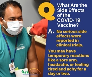 social media post sharing information on vaccine side effects