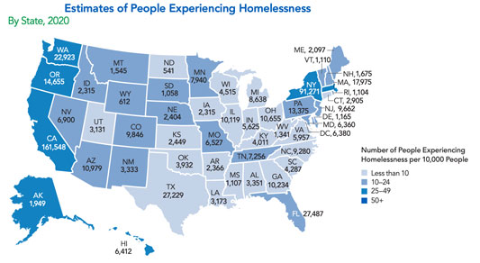 map showing 2020 state-level homelessness count