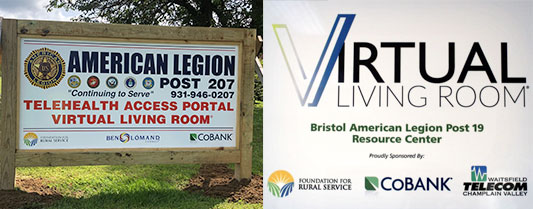 Signs for the Virtual Living Room facilities in Vermont and Tennessee.